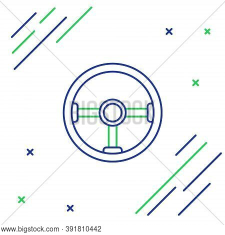 Line Steering Wheel Icon Isolated On White Background. Car Wheel Icon. Colorful Outline Concept. Vec