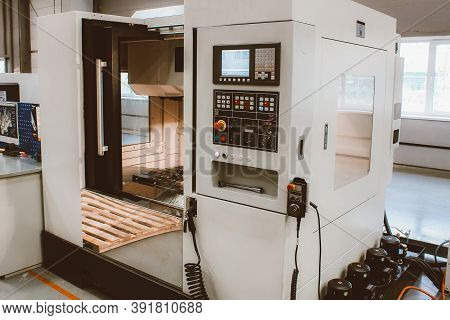 The Cnc Lathe Machine. Turning Machine For Drilling With The Drill Tool And Center Drill Tool. The H