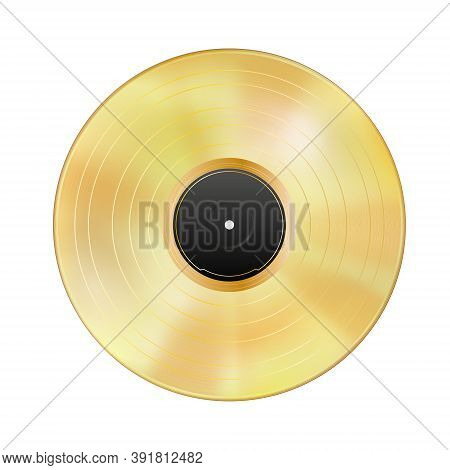 Realistic Gold Vinyl Record Isolated On White Background. Gramophone Lp, Blank Black Label. Mockup D