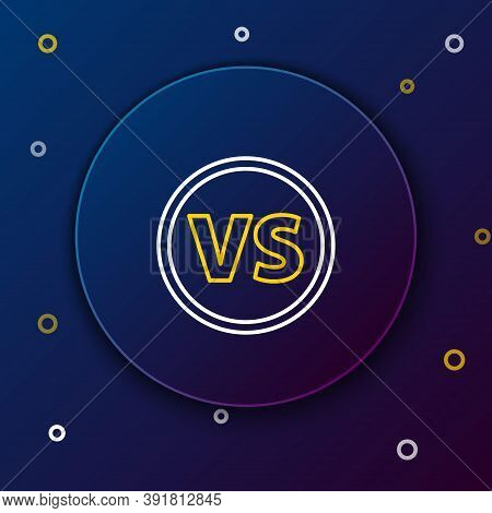 Line Vs Versus Battle Icon Isolated On Blue Background. Competition Vs Match Game, Martial Battle Vs