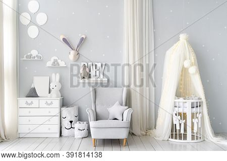 Cozy Bedroom For Newborn Child With Cradle Bed For Little Baby, White Wooden Dresser, Comfort Armcha