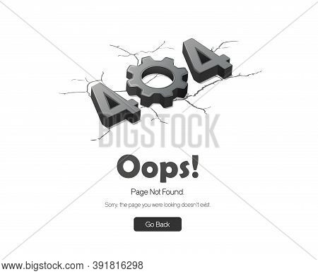 Error 404 Page. Oops! Page Not Found. Vector Isometric Illustration. White Background.