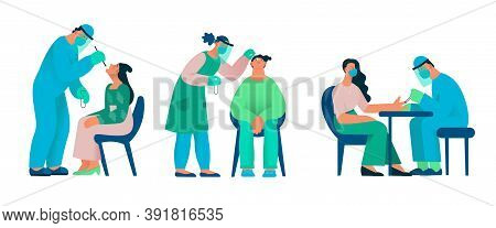 Group Of Healthcare Workers With Protective Equipment Performs Coronavirus Swabs On Caucasian People