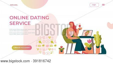 Online Dating Service Application Template. Video Chats Of First Meetings. Concept For Landing Page