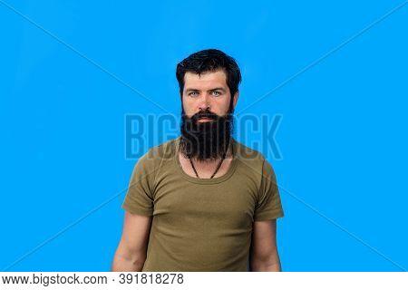Portrait Of Serious Man. Serious Man Portrait. Brutal Bearded Man. Portrait Of Serious Man. Isolated