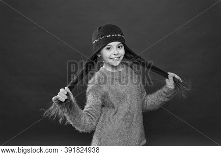 Enviably Long Hair Just Happens. Happy Girl Hold Long Locks Red Background. Little Child Smile With