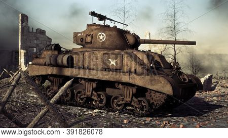 American Allied Medium Tank Stands Ready On A World War Ii Battlefield. 3d Rendering