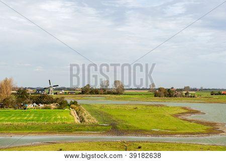 Dutch landscape on Schouwen-Duiveland at Zeeland
