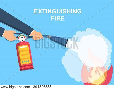 The Concept Of Extinguishing A Fire With A Fire Extinguisher. Flat Cartoon Vector Illustration.