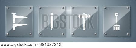 Set Snow Shovel, Sledgehammer, Pencil With Eraser And Clamp Tool. Square Glass Panels. Vector