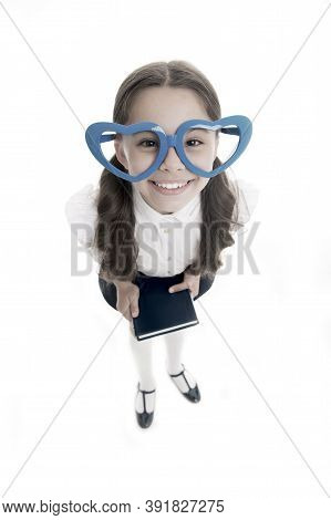 Girl Cute Big Heart Shaped Glasses Isolated White Background. Child Girl School Uniform Clothes Hold