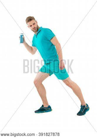 Hygiene Runs The Health. Man Sportswear Running With Bottle Of Shower Gel White Background. Regular