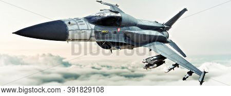 Sleek Military Jet Aircraft Streaking Through The Sky Above The Clouds. 3d Rendering