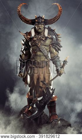 Savage Orc Brute Leader Posed On A Rock Outcrop Wearing Traditional Armor And Equipped With A Large