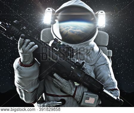 American Military Space Force Soldier Holding A Weapon With Earth's Reflection In The Helmet. 3d Ren