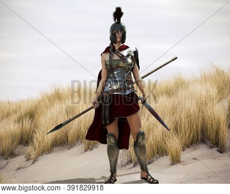 The Spartan. Portrait Of A Battle Hardened Greek Spartan Female Warrior Equipped With A Sword And Sp