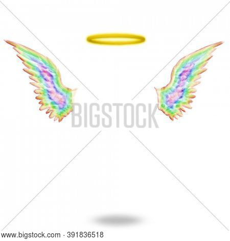 Angels wings and halo. 3D rendering