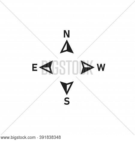 North Arrow Icon. Compas Symbol. Map Direction Sign. North, South, West, East Logo In Vector Flat