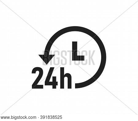 24 Hour Service Logo. 24h Delivery Icon. Always Open Symbol. Support Online In Vector Flat