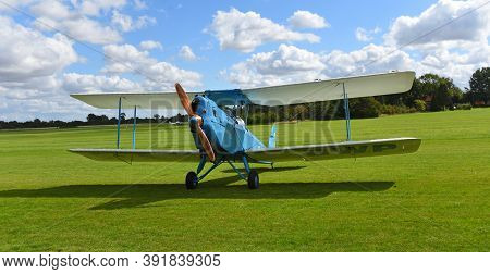 Ickwell, Bedfordshire, England - September 06, 2020: Vintage  Spartan Arrow Biplane  G-abwp Parked O