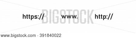 Http And Https Icon Web Bar. Url Address, Ssl Symbol. Www Website Sign Concept In Vector Flat
