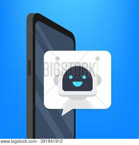 Chat Bot Using On Smartphone, Robot Virtual Assistance Of Website Or Mobile Applications. Voice Supp