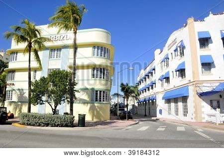 MIAMI SOUTH BEACH FLORIDA, USA - OCTOBER 29: Ocean drive buildings october 29 2012 in Miami Beach, Florida. Art Deco architecture in South Beach is one of the main tourist attractions in Miami. poster