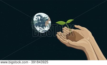 Detailed Flat Vector Illustration Of Two Hands Holding A Sprout Representing Sustainability. Earth I