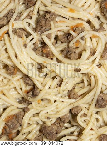 Macaroni And Meat.background Vermicelli With Minced Meat.