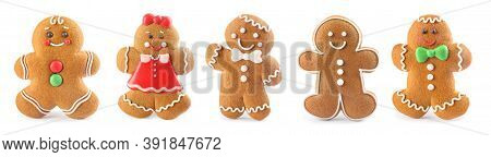 Set Of Christmas Gingerbread Man Shaped Cookies On White Background. Banner Design