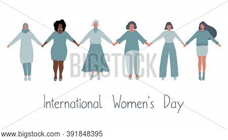 Diverse Group Of Women Are Holding Hands. International Women's Day Concept. Women's Community. Wome