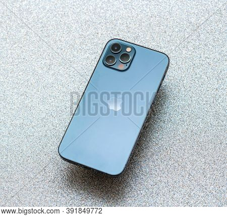 Paris, France - Oct 23, 2020: Rear View Of Lidar And Triple Camera On New Iphone 12 Pro Max 5g Smart