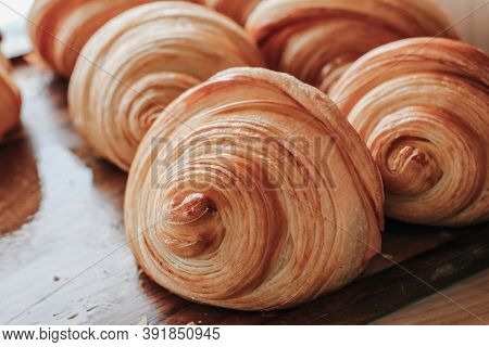 Warm Fresh Buttery Croissants And Rolls. French And American Croissants And Baked Pastries Are Enjoy