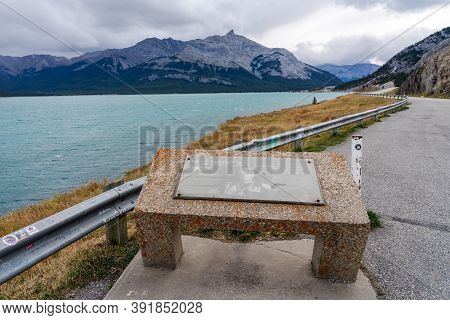 Alberta, Canada - Oct 10 2020 : Rural Road In The Forest With Mount Michener In The Background. Albe