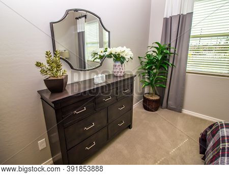 Guest Bedroom With Wall Mirror, Wooden Dresser & Plants