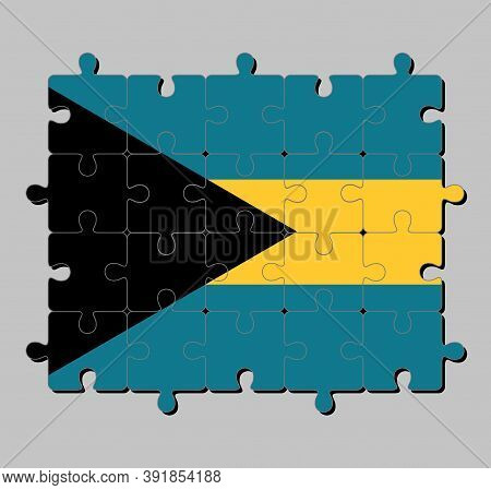 Jigsaw Puzzle Of Bahamas Flag In Triband Of Aquamarine (top And Bottom) And Gold With The Black Chev