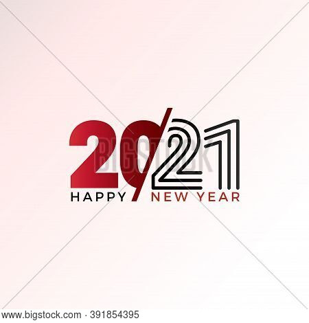 New Year 2021. 2021 Text. Happy New Year 2021 Vector. Number 2021 In The Modern Concept. Number 2021