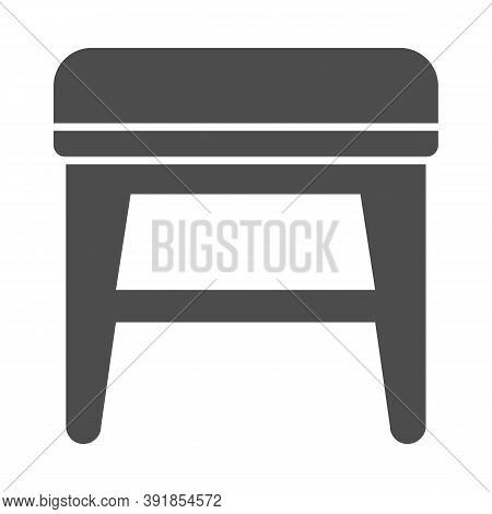 Stool Solid Icon, Furniture Concept, Soft Backless Seat Sign On White Background, Stool With Four Le
