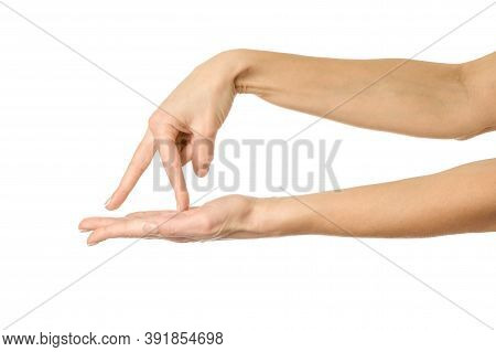 Walking To The Abyss. Woman Hand Gesturing Isolated On White