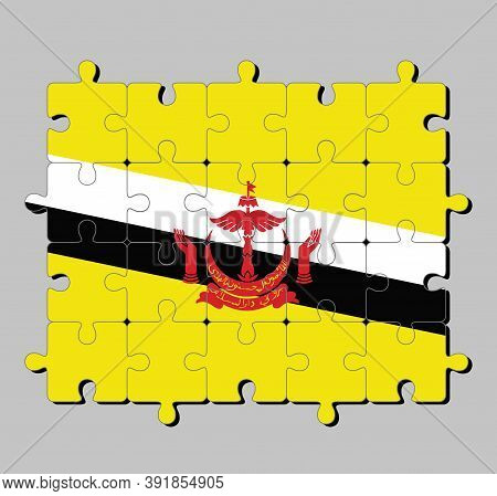 Jigsaw Puzzle Of Brunei Darussalam Flag In Red Crest On Yellow Field Cut By Black And White Diagonal