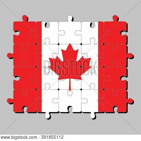 Jigsaw Puzzle Of Canada Flag In A Vertical Triband Of Red And White With The Red Maple Leaf. Concept