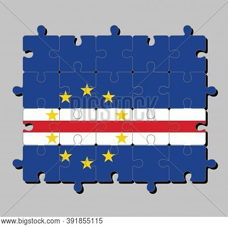 Jigsaw Puzzle Of Cape Verde Flag In Blue White And Red Color With The Circle Of Ten Star. Concept Of