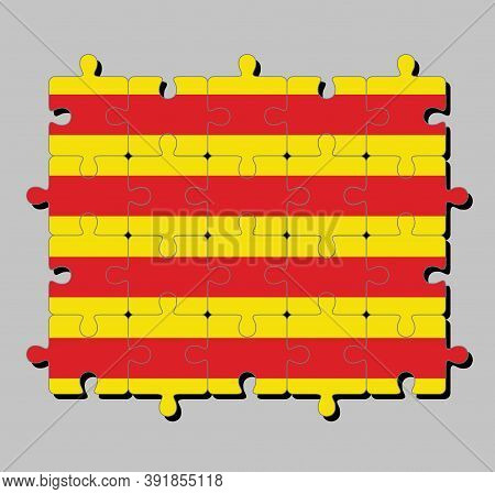 Jigsaw Puzzle Of Catalonia Flag In The Red Stripe On Golden Background. Concept Of Fulfillment Or Pe