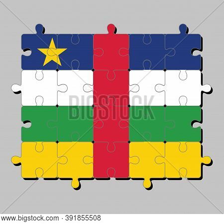 Jigsaw Puzzle Of Central African Flag In Blue White Green Yellow And Red Color With Star. Concept Of