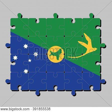 Jigsaw Puzzle Of Christmas Island Flag In Blue And Green Diagonal Color With White Star, Bird In Gol