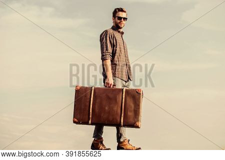 Feed Your Wanderlust. Businessman In Glasses. Business Trip. Male Fashion Style. Looking So Trendy.