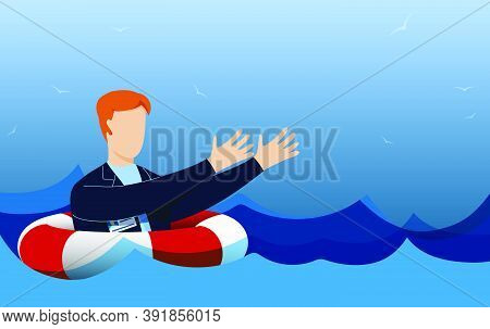 Drowning Man On Life Ring On High Seas Stretches His Hands, Asks For Help. Crisis, Difficult Life Si