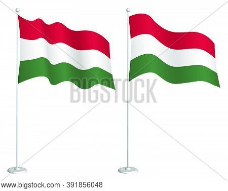 Flag Of Hungary On Flagpole Waving In The Wind. Holiday Design Element. Checkpoint For Map Symbols.
