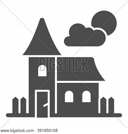 Abandoned Old House Solid Icon, Halloween Concept, House At Full Moon Sign On White Background, Scar
