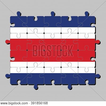 Jigsaw Puzzle Of Costa Rica Flag In Blue Red And White Color. Concept Of Fulfillment Or Perfection.
